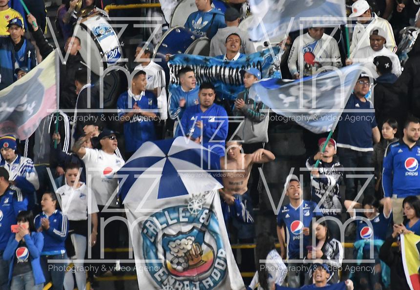 BOGOTÁ-COLOMBIA, 12–10-2019: Hinchas de Millonarios durante partido entre Millonarios y América de Cali de la fecha 17 por la Liga Águila II 2019  jugado en el estadio Nemesio Camacho El Campín de la ciudad de Bogotá. / Fans of Millonarios during a match between Millonarios and America de Cali of the 17th date for the Aguila Leguaje II 2019 played at the Nemesio Camacho El Campin Stadium in Bogota city, Photo: VizzorImage / Luis Ramírez / Staff.