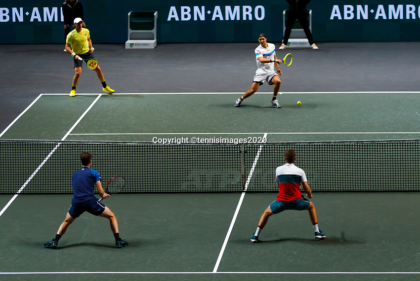 Rotterdam, The Netherlands, 14 Februari 2020, ABNAMRO World Tennis Tournament, Ahoy, Doubles: Henri Kotinen (FIN) and Jan-Lennard Struff (GER), Jamie Murray (GBR) and Neal Skupski (GBR).<br />