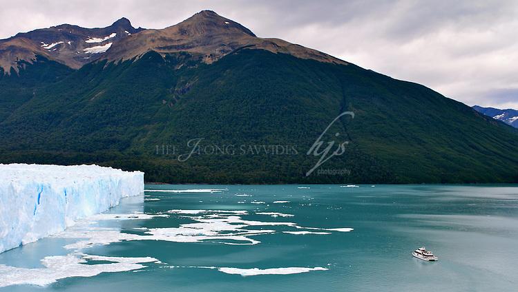 The north end of the glacier and a sightseeing tourist boat, Perito Moreno Glacier, Argentina | Feb 08