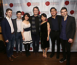 """Ari Evan, Matthew Cohen, Zhenni Li, John Noble, Mari Lee,  Henry Wang and Maximilian Morel attend the Opening Night Celebration for Ensemble for the Romantic Century Off-Broadway Premiere of<br />""""Maestro"""" at the West Bank Cafe on January 15, 2019 in New York City."""