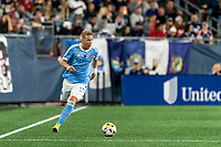 FOXBOROUGH, MA - SEPTEMBER 11: Anton Tinnerholm #3 of New York City FC brings the ball forward during a game between New York City FC and New England Revolution at Gillette Stadium on September 11, 2021 in Foxborough, Massachusetts.