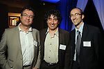 From left: Philippe Le Buhan, Laurent Roze and Cyril Morand at the Technip reception at the Hotel Derek Tuesday May 1,2012. (Dave Rossman Photo)