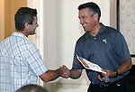 Gov. Brian Sandoval helps Todd Sadow kick off the Epic Rides Carson City Off-Road during a ceremony at the Governor's Mansion in Carson City, Nev., on Friday, June 17, 2016.<br />