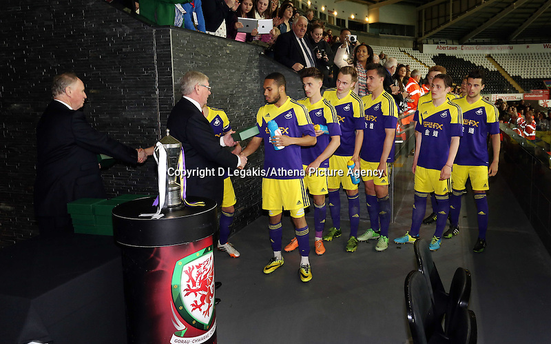 Thursday, 16 April 2014<br /> Pictured: Swansea Youth team are given medals by FAW bosses.<br /> Re: FAW Youth Cup Final, Swansea City FC v The New Saints FC at the Liberty Stadium, south Wales,
