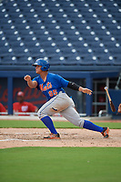 GCL Mets right fielder Raul Beracierta (95) hits an infield single during the second game of a doubleheader against the GCL Nationals on July 22, 2017 at The Ballpark of the Palm Beaches in Palm Beach, Florida.  GCL Mets defeated the GCL Nationals 4-1.  (Mike Janes/Four Seam Images)