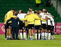 23rd May 2021; HBF Park, Perth, Western Australia, Australia; A League Football, Perth Glory versus Macarthur; Macarthur players huddle before the start of the match against Perth Glory