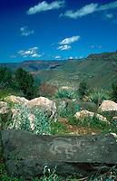 Scenic western landscape of the Salt River Canyon with rock art in the foreground - petroglyph or modern graffiti?. Arizona.