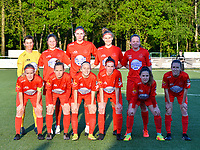 Willeke Willems (1) of Woluwe , Kenza Vrithof (9) of Woluwe, Marie Bougard (10) of Woluwe, Hanna Mylee (29) of Woluwe, Martyna Rakowicz (38) of Woluwe (front row L to R) Jana Simons (8) of Woluwe , Stefanie Deville (3) of Woluwe, Estelle Peron (45) of Woluwe, Magaly Guiteras (28) of Woluwe, Taika De Koker (16) of Woluwe and Selina Gijsbrechts (11) of Woluwe pose for the team photo before a female soccer game between  Racing Genk Ladies and White Star Woluwe on the 8 th matchday of play off 2 in the 2020 - 2021 season of Belgian Scooore Womens Super League , tuesday 18 th of May 2021  in Genk , Belgium . PHOTO SPORTPIX.BE | SPP | JILL DELSAUX