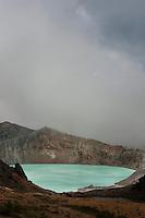 The eerily blue Yukama Lake fills the crater at Mount Shirane, near Kusatsu Onsen, Japan.
