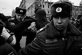 Moscow, Russia<br /> March 31, 2010<br /> <br /> A anti-government protesters from Strategy 31, a group that defends the human rights and protest freedom in Russia are arrested one by one by police in the center of Moscow.