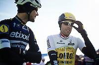 Tom Boonen (BEL/Etixx-QuickStep) & Maarten Wynants (BEL/LottoNL-Jumbo) chatting before the start<br /> <br /> Kuurne-Brussel-Kuurne 2016