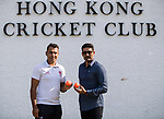 Captain Babar Hayat of Hong Kong Team (L) and Captain Sohail Tanvir of Pakistan Team (R) pose for photo during the Hong Kong Cricket World Sixes 2017 Press Conference at Hong Kong Cricket Club on 27 October 2017, in Hong Kong, China. Photo by Yu Chun Christopher Wong / Power Sport Images