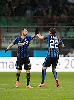 Calcio, Coppa Italia: semifinale di ritorno Inter vs Juventus. Milano, stadio San Siro, 2 marzo 2016. <br /> FC Inter's Marcelo Brozovic, second from right, celebrates with teammate Adem Ljajic, after scoring during the Italian Cup second leg semifinal football match between Inter and Juventus at Milan's San Siro stadium, 2 March 2016.<br /> UPDATE IMAGES PRESS/Isabella Bonotto