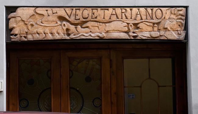 Sign, II Vegetariano Restaurant, Florence, Tuscany, Italy
