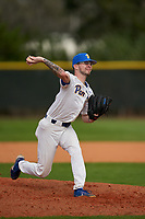 Pitt Panthers pitcher Chris Gomez (34) during the teams opening game of the season against the Indiana State Sycamores on February 19, 2021 at North Charlotte Regional Park in Port Charlotte, Florida.  (Mike Janes/Four Seam Images)