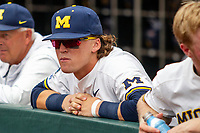 Michigan Wolverines outfielder Jesse Franklin (7) before Game 11 of the NCAA College World Series against the Texas Tech Red Raiders on June 21, 2019 at TD Ameritrade Park in Omaha, Nebraska. Michigan defeated Texas Tech 15-3 and is headed to the CWS Finals. (Andrew Woolley/Four Seam Images)