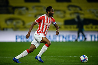 4th November 2020; Vicarage Road, Watford, Hertfordshire, England; English Football League Championship Football, Watford versus Stoke City; Mikel John Obi (Stoke City) comes forward on the ball