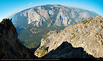 Northwest View from Promontory Point in Autumn, Fisheye, Taft Point Overlook, Yosemite Valley, El Capitan, Eagle Peak Canyon and Three Brothers, Taft Point, Yosemite National Park