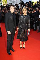 Matthieu Lucc et Marina Fois sur le tapis rouge pour la soirée dans le cadre de la journée anniversaire de la 70e édition du Festival du Film à Cannes, Palais des Festivals et des Congres, Cannes, Sud de la France, mardi 23 mai 2017.