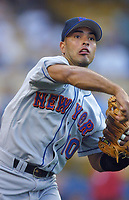 Rey Ordonez of the New York Mets during a 2001 season MLB game at Dodger Stadium in Los Angeles, California. (Larry Goren/Four Seam Images)