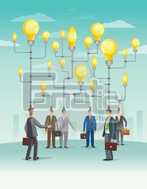Illustrative image of businesspeople representing mechanism and ideas over white background