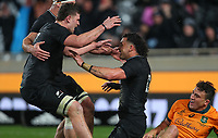 The All Blacks celebrate David Havili's try during the Bledisloe Cup rugby match between the New Zealand All Blacks and Australia Wallabies at Eden Park in Auckland, New Zealand on Saturday, 14 August 2021. Photo: Simon Watts / lintottphoto.co.nz / bwmedia.co.nz