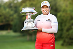 South Korean Inbee Park holds the LPGA Championship trophy after winning the match at Locust Hill Country Club in Pittsford, NY on June 9, 2013
