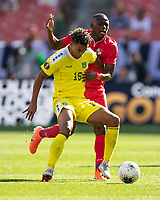 CLEVELAND, OH - JUNE 22: Terence Vancooten #15 tries to avoid Abdiel Arroyo #18 as he attacks during a game between Panama and Guyana at FirstEnergy Stadium on June 22, 2019 in Cleveland, Ohio.