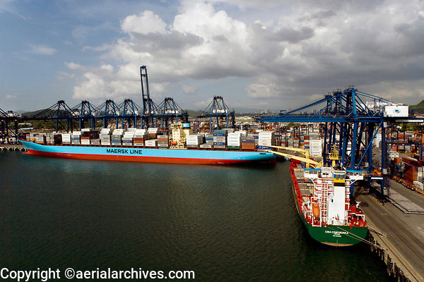 aerial photograph of two vessels docked at the Port of Balboa, the Pacific coast entrance to the Panama Canal, Panama