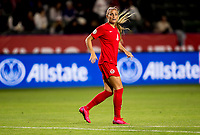 CARSON, CA - FEBRUARY 07: Shelina Zadorsky #4 of Canada moves downfield during a game between Canada and Costa Rica at Dignity Health Sports Complex on February 07, 2020 in Carson, California.