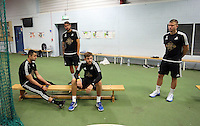 Pictured L-R: Lukasz Fabianski, Kristoffer Nordfeldt, Josh Vickers and Franck Tabanou Tuesday 30 June 2015<br /> Re: Pre-season assessment of Swansea City FC players on the grounds of Swansea University, south Wales, UK