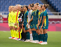 TOKYO, JAPAN - JULY 24: Sam Kerr #2 of Australia lines up with her team during a game between Australia and Sweden at Saitama Stadium on July 24, 2021 in Tokyo, Japan.