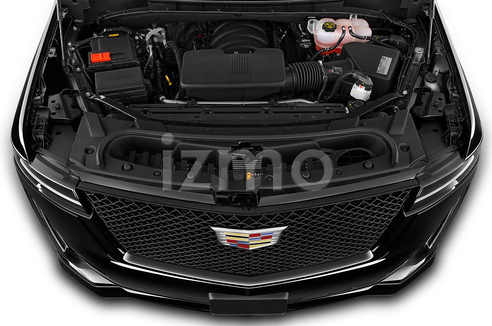 High angle engine detail of a 2021 Cadillac Escalade Sport 5 Door SUV