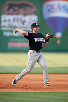 Chattanooga Lookouts third baseman Dan Gamache (21) throws to first base during a game against the Jackson Generals on April 29, 2017 at The Ballpark at Jackson in Jackson, Tennessee.  Jackson defeated Chattanooga 7-4.  (Mike Janes/Four Seam Images)