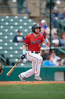 Rochester Red Wings Jake Cave (15) at bat during an International League game against the Charlotte Knights on June 16, 2019 at Frontier Field in Rochester, New York.  Rochester defeated Charlotte 11-5 in the first game of a doubleheader that was a continuation of a game postponed the day prior due to inclement weather.  (Mike Janes/Four Seam Images)