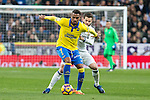 Prince Boateng of UD Las Palmas competes for the ball with Nacho Fernandez of Real Madrid  during the match of Spanish La Liga between Real Madrid and UD Las Palmas at  Santiago Bernabeu Stadium in Madrid, Spain. March 01, 2017. (ALTERPHOTOS / Rodrigo Jimenez)