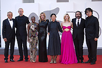 Alberto Barbera and jury members Alexander Nanau, Cynthia Erivo, Virginie Efira, Chloe Zhao, Sarah Gadon, Saverio Costanzo, Bong Joon Ho attending the Closing Ceremony Red Carpet as part of the 78th Venice International Film Festival in Venice, Italy on September 11, 2021. <br /> CAP/MPI/IS/PAC<br /> ©PAP/IS/MPI/Capital Pictures