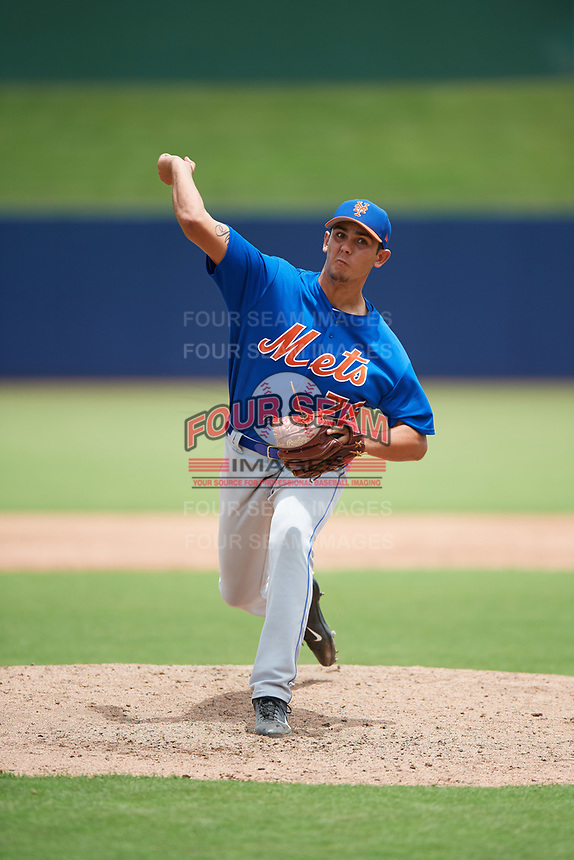 GCL Mets pitcher Noah Nunez (78) delivers a pitch during the second game of a doubleheader against the GCL Nationals on July 22, 2017 at The Ballpark of the Palm Beaches in Palm Beach, Florida.  GCL Mets defeated the GCL Nationals 4-1.  (Mike Janes/Four Seam Images)