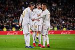 Sergio Ramos (L) and Eden Hazard (R) of Real Madrid celebrate goal during La Liga match between Real Madrid and RC Celta de Vigo at Santiago Bernabeu Stadium in Madrid, Spain. February 16, 2020. (ALTERPHOTOS/A. Perez Meca)