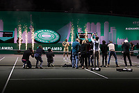 Rotterdam, The Netherlands,7 march  2021, ABNAMRO World Tennis Tournament, Ahoy,  <br /> Final: Finalist Andrey Rublev (RUS) (R) receives price at inauguration. <br /> Photo: www.tennisimages.com/