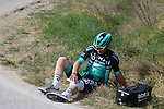 Maximilian Schachmann (GER) Bora-Hansgrohe out injured on sector 6 Lucignano d'Asso during Strade Bianche 2019 running 184km from Siena to Siena, held over the white gravel roads of Tuscany, Italy. 9th March 2019.<br /> Picture: Seamus Yore   Cyclefile<br /> <br /> <br /> All photos usage must carry mandatory copyright credit (© Cyclefile   Seamus Yore)
