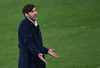 Football: Europa League - quarter final 2nd leg AS Roma vs Ajax, Olympic Stadium. Rome, Italy, March 15, 2021.<br /> Roma's coach Paulo Fonseca reacts during the Europa League football match between Roma at Rome's Olympic stadium, Rome, on April 15, 2021.  <br /> UPDATE IMAGES PRESS/Isabella Bonotto