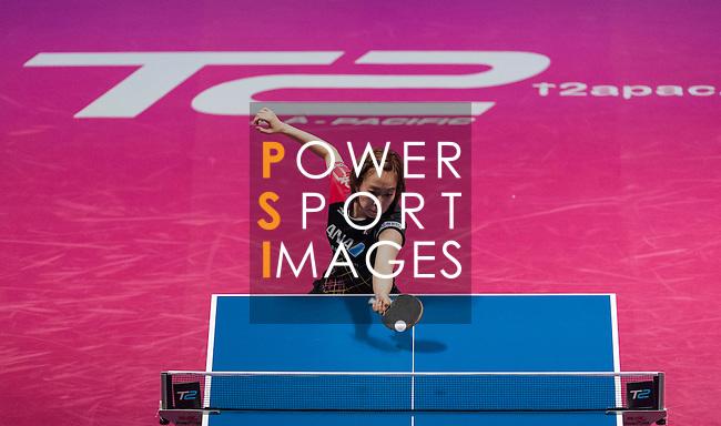 Yang Haeun of South Korea vs Kasumi Ishikawa of Japan at their Women's Singles Quarter Final match during the Seamaster Qatar 2016 ITTF World Tour Grand Finals at the Ali Bin Hamad Al Attiya Arena on 10 December 2016, in Doha, Qatar. Photo by Victor Fraile / Power Sport Images