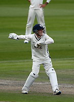 28th May 2021; Emirates Old Trafford, Manchester, Lancashire, England; County Championship Cricket, Lancashire versus Yorkshire, Day 2; Yorkshire keeper Harry Duke returns the ball to the bowler