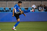 SAN JOSE, CA - MAY 12: Andres Rios #25 of the San Jose Earthquakes controls the ball during a game between San Jose Earthquakes and Seattle Sounders FC at PayPal Park on May 12, 2021 in San Jose, California.