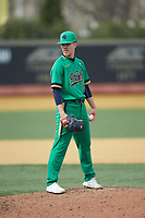 Notre Dame Fighting Irish relief pitcher Aidan Tyrell (17) looks to his catcher for the sign against the Wake Forest Demon Deacons at David F. Couch Ballpark on March 10, 2019 in  Winston-Salem, North Carolina. The Demon Deacons defeated the Fighting Irish 7-4 in game one of a double-header.  (Brian Westerholt/Four Seam Images)