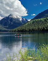 Fisherman on Wallowa Lake. Oregon.