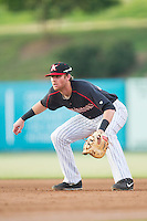 Kannapolis Intimidators first baseman Danny Hayes (32) on defense against the Delmarva Shorebirds at CMC-NorthEast Stadium on July 1, 2014 in Kannapolis, North Carolina.  The Intimidators defeated the Shorebirds 5-2. (Brian Westerholt/Four Seam Images)