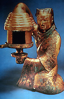 China:  Lamp, gilt bronze, about 2 ft. high.  First half 2nd C. B.C.  Tomb of a Princess.