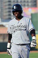 Staten Island Yankees outfielder Kelvin DeLeon (18) during game against the Brooklyn Cyclones at MCU Park in Brooklyn, NY June 19, 2010. Cyclones won 9-6.  Photo By Tomasso DeRosa/Four Seam Images